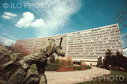 The ILO building. The statue of a miner in the foreground was a gift of the Government of Yugoslavia in 1939