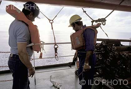 Life saving drill at sea by the crew of a cargo ship. Greece, 1991.