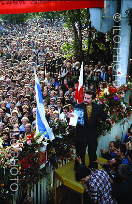 Lech Walesa after the signing of an agreement, 1980. Poland.