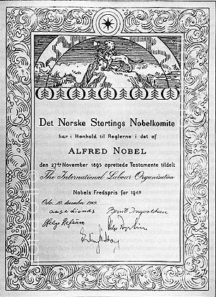 Nobel Peace Prize diploma discerned on ILO, 1969.