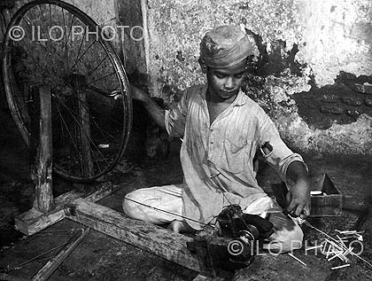 Child labour being exploited by a small company in the informal sector. Undated.