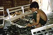 Young boy making a sofa
