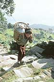 Child carrying loads on his back in a quarry