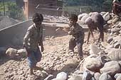 Children of Tamang ethnic group, working in a stone quarry