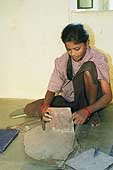Student at the centre for apprenticeship of young women, A.P. Women's, in the district of Hyderabad. The goal of this programme, sponsored by the ILO and designed for the rehabilitation and integration of working children, is to promote and implement the education of young women and to eliminate child labour.