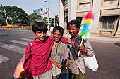 Young illegal street sellers in the city centre, Bangalore.