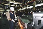 Automotive industry: Mahindra jeep assembly line, Mahindra factory, Bombay. 