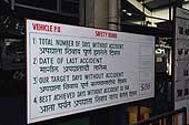 Automotive industry: assembly line for Mahindra jeeps,  billboard showing objectives regarding security measures, Mahindra factory in Bombay.