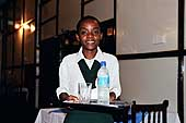 Young female employee in a downtown Dar es Salaam hotel. Tanzania.