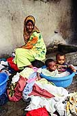 Zanzibar Island. Washing clothes in the courtyard.