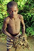 Child working in the rice fields. Near Niamey.
