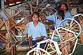 Young girls spinning wool. Thailand.
