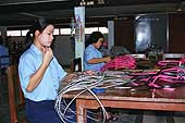 Basket makers creating various wicker-made objects. Thailand.