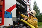 Demonstration by firefighters on the International Day for the commemoration of the victims of accidents at work (Workers' Memorial Day) on 29 April 2002 in Geneva.