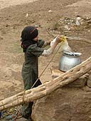 Child collecting water in Bini Hoseish. Yemen.