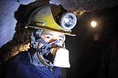 Man working in a coal mine in Potosí, Bolivia. 