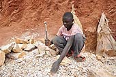 A child worker in a stone quarry, Wakiso district, Uganda
