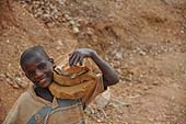 A child labourer in a stone quarry, Wakiso district, Uganda