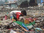 Young boy picking up rubbish to be sorted in a dump in Manila. Philippines.