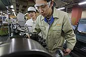 Students from the machine processing section. Kyoto Vocational Training School. Kyoto, Japan.