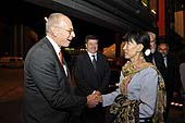 Mr Steve Marshall, ILO Liaison Officer in Myanmar, welcomes Ms Daw Aung San Suu Kyi, President of the National League for Democracy and Member of Parliament, Republic of the Union of Myanmar at her arrival at Cointrin Airport. 101st Session of the International Labour Conference. 13 June 2012.
