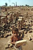 Hundreds of families with young children work and live in these brickyards near Islamabad - often under conditions of bonded labour.