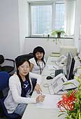 Disabled switchboard operators. Panasonic headquarters. Beijing. China.