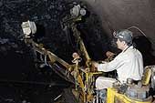 Worker drilling. Kailuan Coal Mine Group. Tangshan Qianjiaying Coal Mine. China.