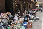 Cairo. Moqattam, home to many of Cairo's Zabaleen or rubbish collectors. Those pictured here collect rubbish to sort later.