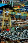 Workers of PT Jaya Asiatic Shipyard build a new ship for offshore shipping. Company with shipbuilding and ship repairing as its core business line. Tanjung Uncan, Batam. Indonesia.