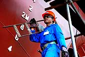 Worker of PT Jaya Asiatic Shipyard build a new ship for offshore shipping. Company with shipbuilding and ship repairing as its core business line. Tanjung Uncan, Batam. Indonesia.