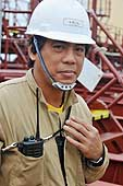 Portrait of a seafarer on the 'Kalimantan Palm'. Cargo ship from Singapore which transports palm oil. Port of Southampton.