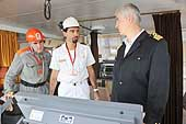 Ship inspectors with the ship captain. Control room of a Bulgarian ship. Port of Genoa. 