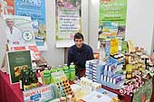 Vendor of organic products in a market. Port of Genoa. Italy.