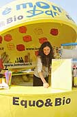 Employee at Lemonbar, a company which serves natural and organic drinks. Port of Genoa. Italy. 