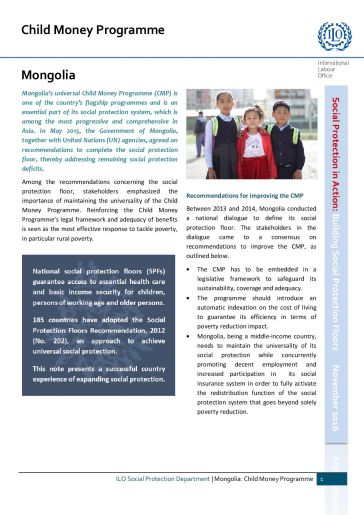 Child benefits: The Universal Child Money Programme in Mongolia