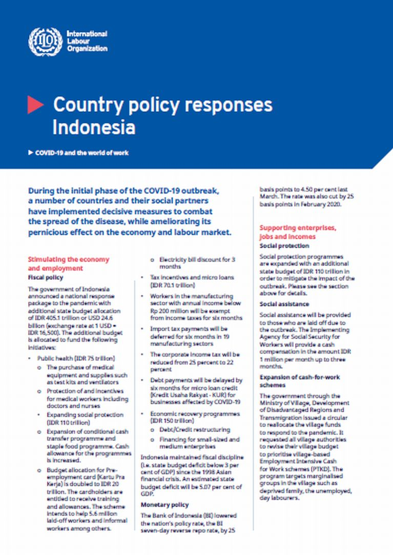 Covid 19 And The World Of Work Covid 19 Policy Responses In Indonesia Last Updated 7 April 2020
