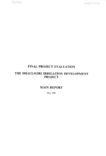 Final Project Evaluation  The Dhaulagiri Irrigation Development