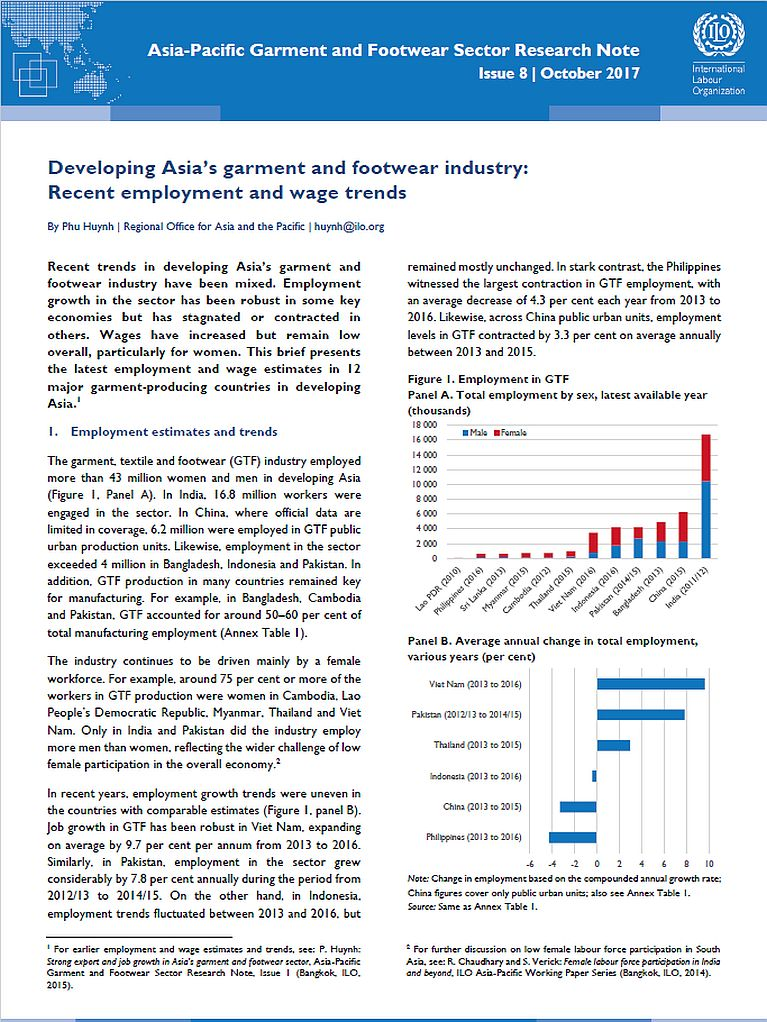 ILO Asia-Pacific Garment and Footwear Sector Research Note