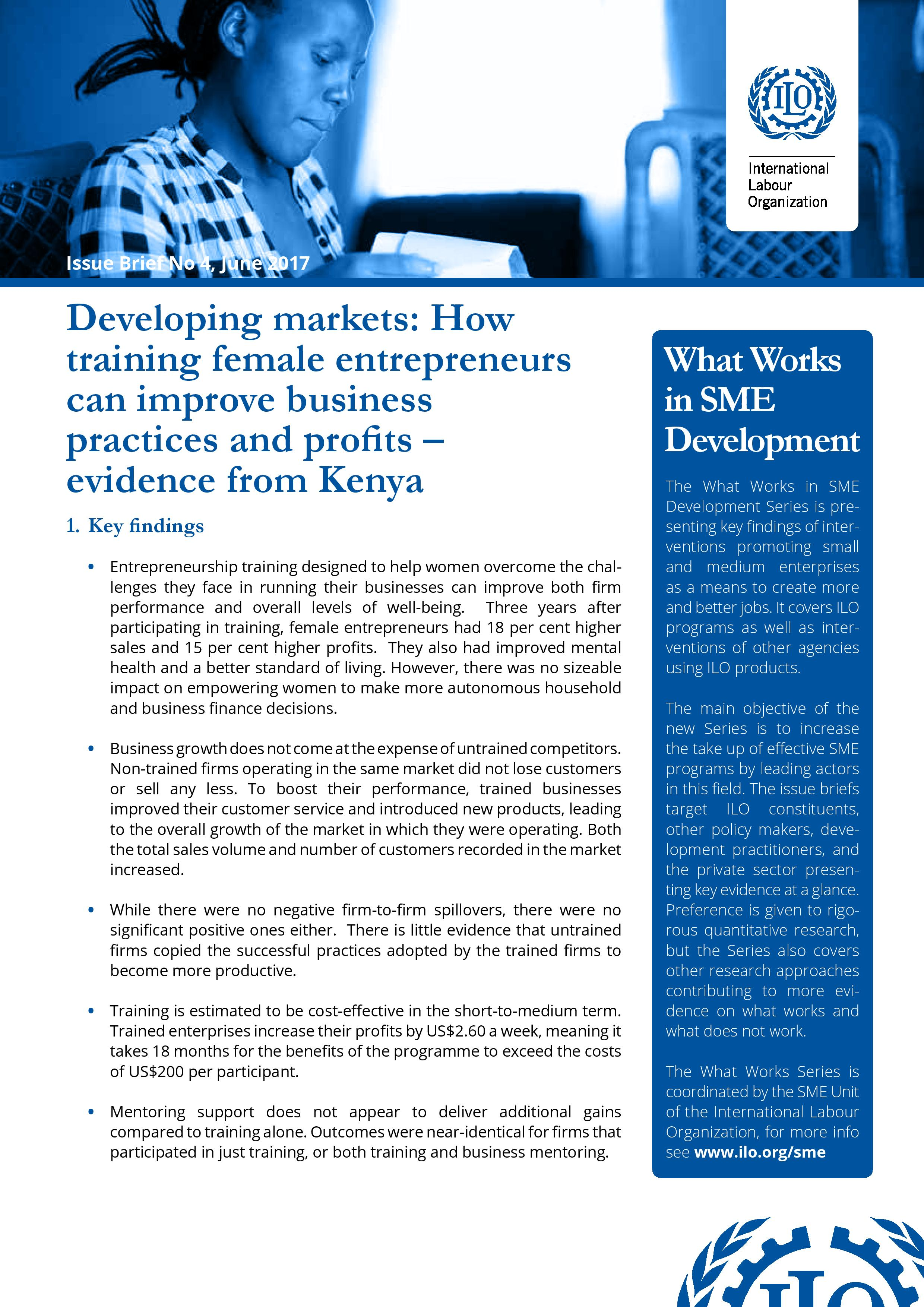 COVER Developing markets: How training female entrepreneurs can