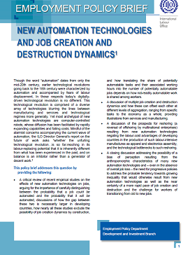 Employment Policy Brief: New automation technologies and job ...