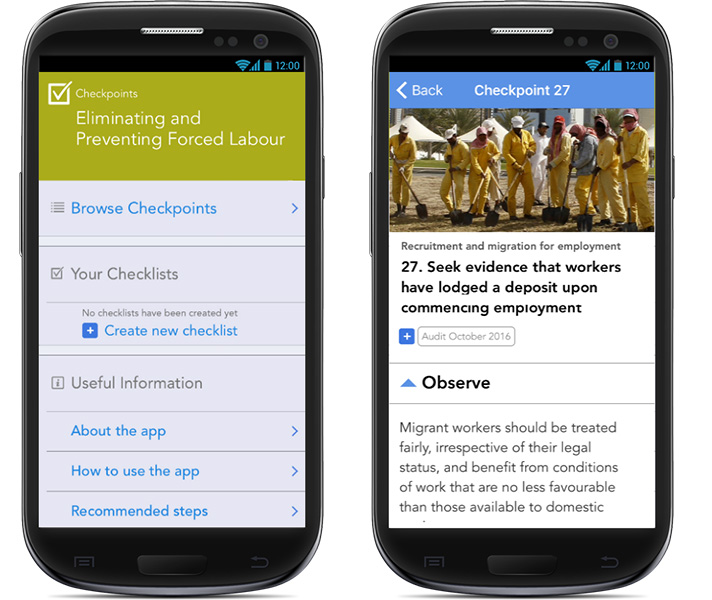 Eliminating and Preventing Forced Labour: Checkpoints app